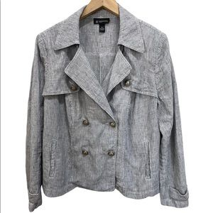 INC Linen Stripe Casual Double Breasted Jacket